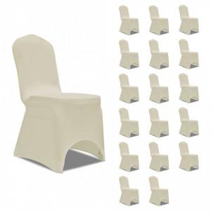 Huse elastice pentru scaun, 18 buc., crem - V3051641V