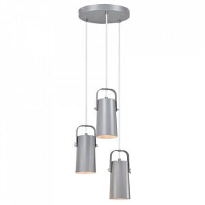 Lampă suspendată, gri / metal, DEVAN