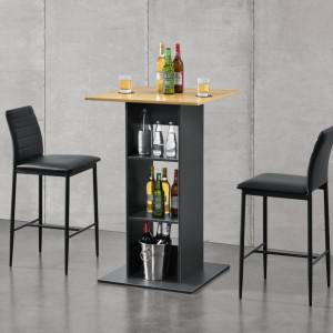 Masa bar Visby CL, 70 x 70 x 110cm, PAL melaminat, gri inchis/culoarea lemnului, cu 3 rafturi - P69369746