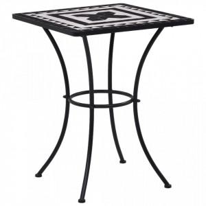 Masa de bistro mozaic, negru si alb, 60 cm, ceramica - V46707V