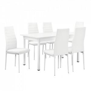 Masa de bucatarie/salon Bonn design modern - masa cu 6 scaune imitatie de piele (alba) - P53897507