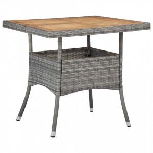 Masa de exterior, gri, poliratan si lemn masiv de acacia - V46172V