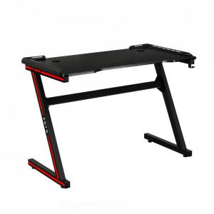 Masă de joc / masă pentru computer, cu iluminare LED RGB, negru / roşu, MACKENZIE 100cm
