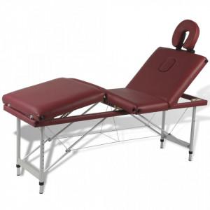 Masa de masaj pliabila 4 parti cadru din aluminiu Rosu - V110098V