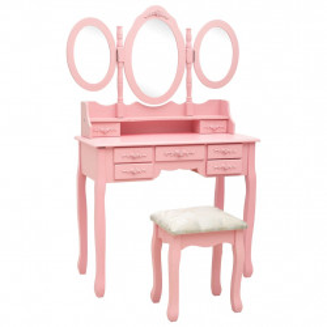 Masa de toaleta cu taburet si triptic oglinzi, roz - V289327V