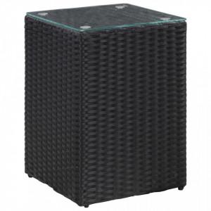 Masa laterala cu blat de sticla, negru, 35x35x52 cm, poliratan - V46982V