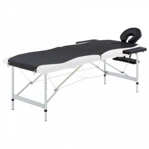 Masa pliabila de masaj, 2 zone, negru si alb, aluminiu - V110228V