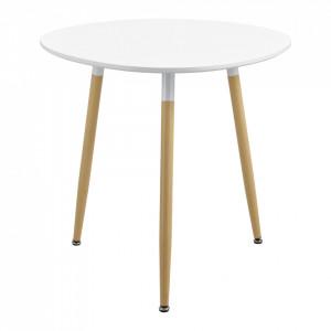 Masa rotunda Galicia, eleganta design retro, 80 x 80 x 74 cm, MDF lacuit/otel, alb/culoarea lemnului de fag, pentru 3 persoane - P65258744