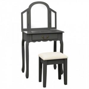 Masa toaleta cu taburet, gri, 65x36x128 cm, lemn paulownia, MDF - V289337V