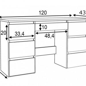 MBBIA1 - Birou 120 cm, masa de calculator cu 7 sertare, office - Alb