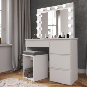 MBMTA2 - Set Masa toaleta, 94 cm cosmetica machiaj oglinda masuta vanity, oglinda cu LED-uri - Alb