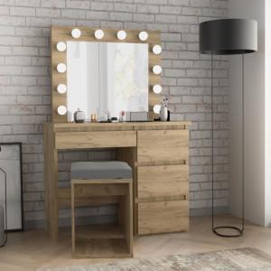 MBMTAR2 - Set Masa toaleta, 94 cm cosmetica machiaj oglinda masuta vanity, oglinda cu LED-uri - Culoare Stejar