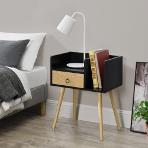 Noptiera cu sertar Dodo, 64 x 50 x 36 cm, PAL, negru/efect lemn - P66773889