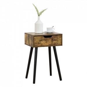 Noptiera Ostersund, 60 x 40 x 29,5 cm, PAL/PVC, efect lemn nuanta inchisa, cu 1 sertar - P73606254