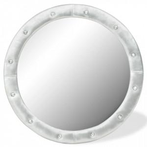 Oglinda de perete, argintiu lucios, 80 cm, piele ecologica - V245601V