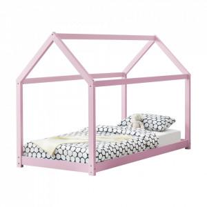 Pat copii Arti, 206 x 98 x 142 cm, lemn de brad, roz mat lacuit, design casuta, stabil, de la 3 ani, fara saltea - P64038177