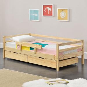 Pat copii cu sertare pentru lenjerie Reykholt H140, 146 x 76 x 51,5 cm, lemn/furnir, culoarea lemnului cu 2 sertare pentru depozitarea lenjeriei - P71303263