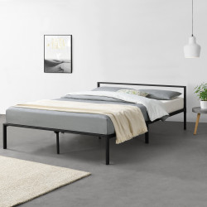 Pat rama metalica Imatra 2, 210cm x 145cm x 60cm, otel, negru mat, dublu, forma moderna minimalista - P69577781