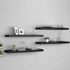 Rafturi de perete, 4 buc., negru, 80 x 23,5 x 3,8 cm, MDF - V323837V