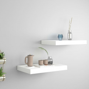 Rafturi de perete suspendate, 2 buc., alb, 40x23x3,8 cm, MDF - V323806V