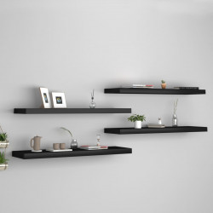 Rafturi de perete suspendate 4 buc., negru, 90x23,5x3,8 cm, MDF - V323840V