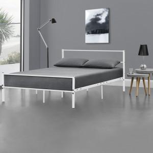 Rama metalica pat Oscar, design vintage, cu gratar, 208,5 x 121,5 x 81 cm, otel sinterizat, alb - P56976977