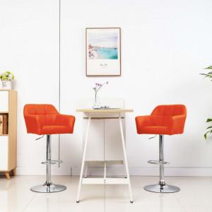 Scaun de bar cu brate, portocaliu, piele ecologica - V249757V