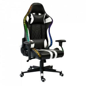 Scaun de birou / joc cu iluminare RGB, model negru / alb / culoare, ZOPA