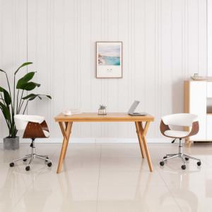Scaun de birou pivotant, alb, lemn curbat si piele ecologica - V3054831V