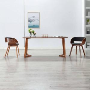 Scaun de bucatarie, gri, lemn curbat si material textil - V283111V