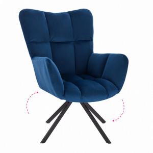 Scaun de design, ţesătură albastră, KOMODO