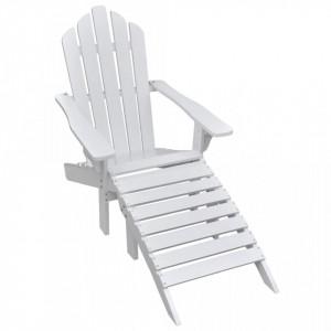 Scaun de gradina cu taburet, alb, lemn - V40859V