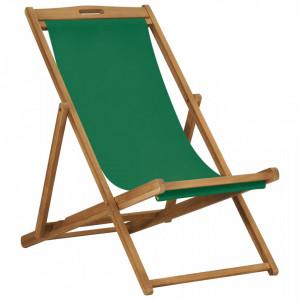 Scaun de plaja pliabil, verde, lemn masiv de tec - V47416V