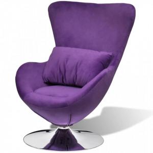 Scaun ou rotativ, cu perna, violet, catifea, mic - V241177V