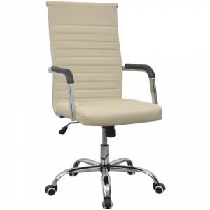 Scaun pentru birou din piele artificiala 55x63 cm, Crem - V20125V