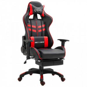 Scaun pentru jocuri cu suport picioare, rosu, piele ecologica - V20201V