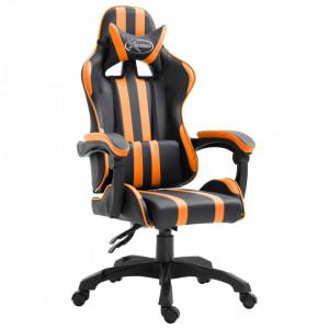 Scaun pentru jocuri, portocaliu, piele ecologica - V20214V