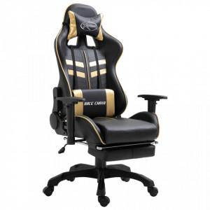 Scaun pentru jocuri, suport picioare, auriu, piele ecologica - V20202V