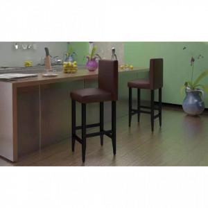 Scaune de bar, 4 buc., maro inchis, piele ecologica - V160717V