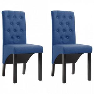 Scaune de bucatarie, 2 buc., albastru, material textil - V248989V