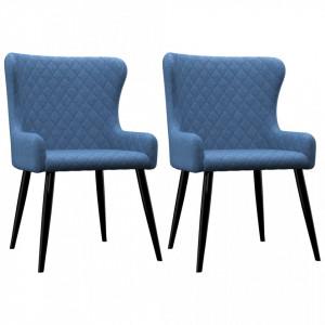 Scaune de bucatarie, 2 buc., albastru, material textil - V282519V