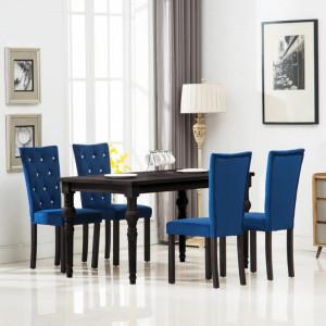 Scaune de bucatarie, 4 buc., albastru inchis, catifea - V246491V