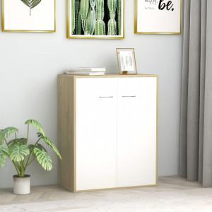 Servanta, alb si stejar Sonoma, 60 x 30 x 75 cm, PAL - V800734V