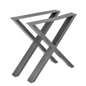Set 2 bucati picioare masa in forma X, 69 x 72 cm, metal, gri metal - P57353531