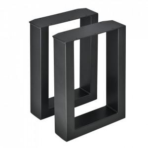 Set 2 bucati picioare masa/mobilier Model 3, 30 x 43 cm, metal, negru - P57353526