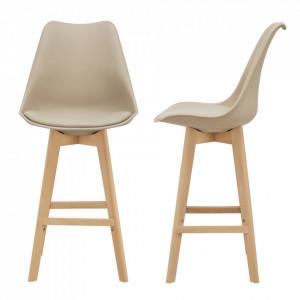 Set 2 bucati scaun bar Adela, 105 x 48 x 58 cm, plastic/imitatie piele, lemn de fag, bej - P67291236