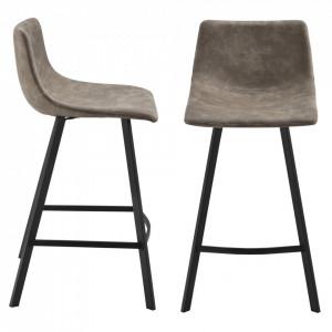 Set 2 bucati scaune de bar Edinburgh, 88 cm, metal/imitatie piele, maro aluna - P71651790