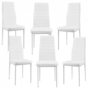 Set Dina 6 scaune bucatarie, 96 x 43 cm, piele sintetica, alb - P53118555