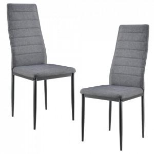 Set Dolly 2 bucati scaune, 96 x 43 x 52 cm, metal/textil, gri - P61812948