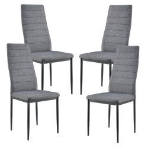 Set Dolly 4 bucati scaune, 96 x 43 x 52 cm, metal/textil, gri - P61814266